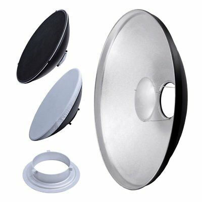 55cm Beauty Dish Reflector Silver with Bowens Speedring Mount & Honeycomb Grid