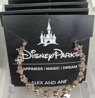 Disney Parks Alex and Ani Mickey Icon Rose Gold Bead Bangle Bracelet NEW Minnie
