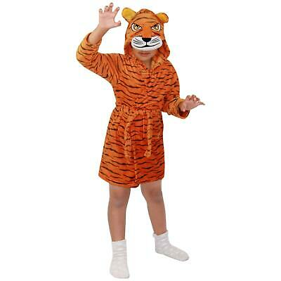 Kids Boys Girls Bathrobe 3D Animal Tiger Fleece Dressing Gown Night Lounge Wear