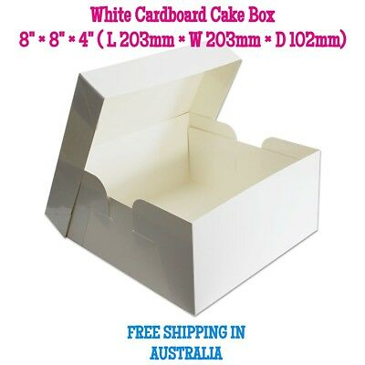Cake Box 8×8×4 inches White Cardboard - Cake Boxes - Free Postage - High Quality