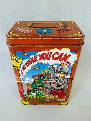 Piggy Bank Money Bank Cash Coin Savings Tin Box Litho Train Stickers Cool Gift