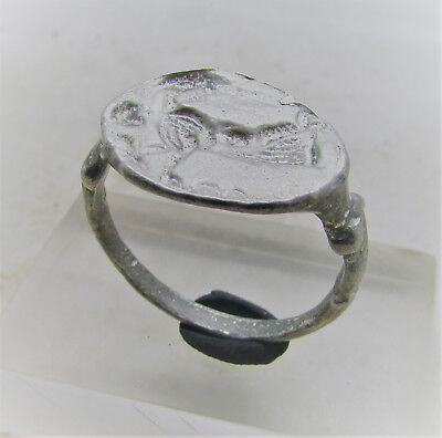 Beautiful Ancient Greek Silver Signet Ring With Impression Of Hermes On Bezel