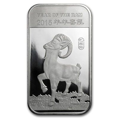 "1 oz .999 Pure Silver Art-Bar/Coin: ""2015 Year of the Ram, Chinese Zodiac"""