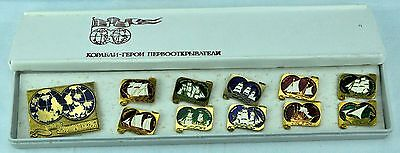 Vintage Collection Russian Discoveries Ships. Pin Badges.  (BI#NS1)
