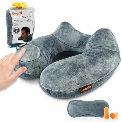 U Shaped Inflatable Neck Cervical Head Pillow Soft Compact Travel Pillow