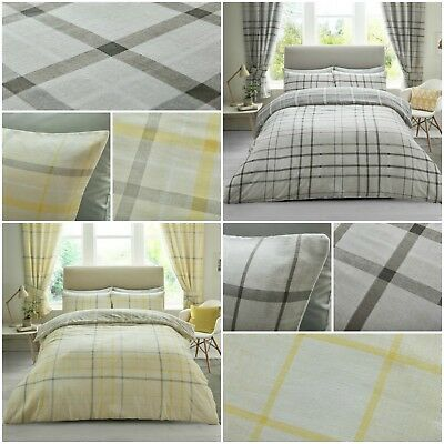 HARTLEY CHECK Duvet Cover Quilt Reversible Luxury Bedding Set With Pillow cases