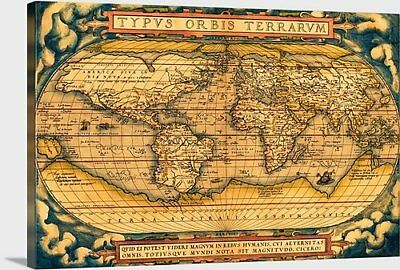 "Antique World Map - 1570 - Stretched canvas print - 40"" x 27"""