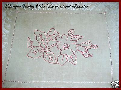 Victorian Antique TURKEY RED Linen Xmas Table Runner Doily Sampler Embroidery