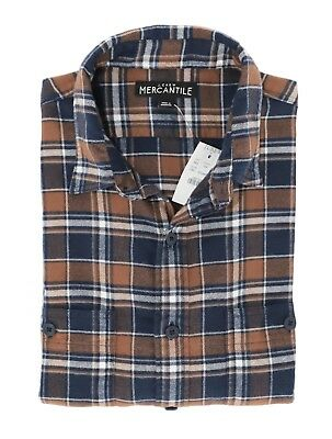 ccb8bf04a9ac J.Crew Mercantile Mens XS Slim Fit - NWT Navy Cider Brown Plaid Flannel