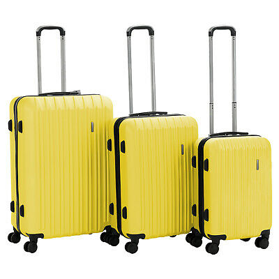 3Pcs ABS Trolley Carry On Travel Luggage Set Bag Spinner Suitcase w/Lock Yellow