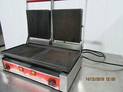 X Costa Ital Pannini Grill Contact Press Double Ribbed 13 Amp Single Phase