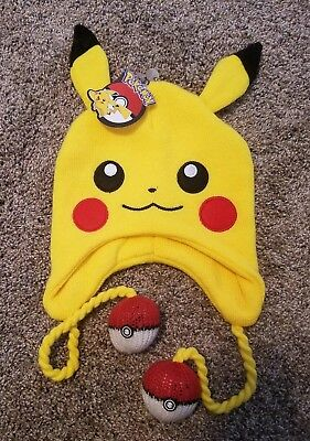 94bc276b437 BRAND NEW Pikachu Face Pokemon Winter Beanie Knit Hat with Pokeball BIOWORLD