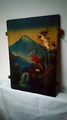 ANTIQUE JAPANESE PAINTING ON PANEL Mount Fuji