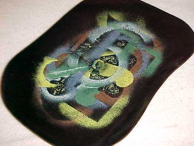 "12"" Signed Leon Statham Modern Enamel Copper Art Bowl Tray Midcentury Abstract !"