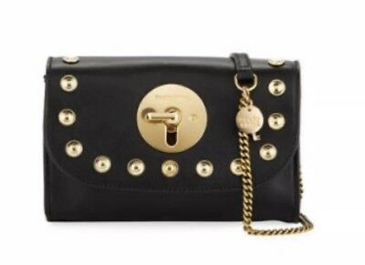 See by Chloe Lois Mini Studded Black Gold Leather Crossbody Clutch Shoulder  New 19762400c587c