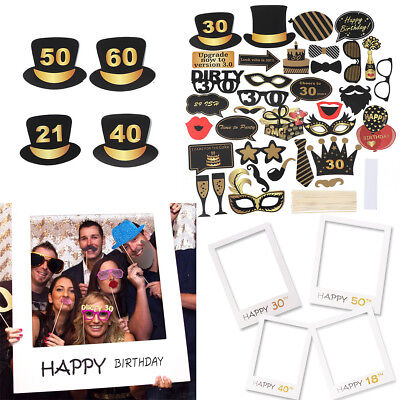 18TH 30TH 40TH 50TH 60TH 21ST Happy Birthday Party Photo Frame Photo Booth Props