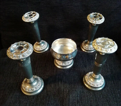 11889) 4 x Ianthe posy vases & 1 rose bowl small - no lid - silver-tone