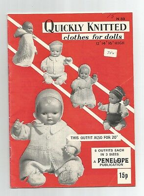 1960s Penelope Publ. N 33 Quickly Knitted Clothes for (Baby) DOLL 12-14-16 & 20""