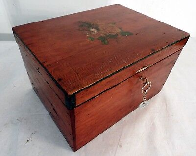 Large Size Two Tier Antique Lockable Wooden Box with Rose Design