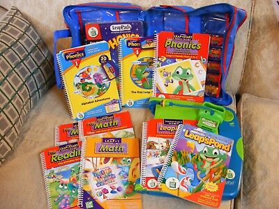 Leap Pad Leap Frog Learning System with 10 Books & Cartridges, Case, Microphone