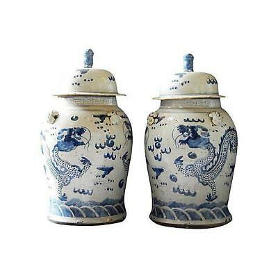 "Chinese Porcelain Large B & W  Dragons Ginger Jars 23"" h"
