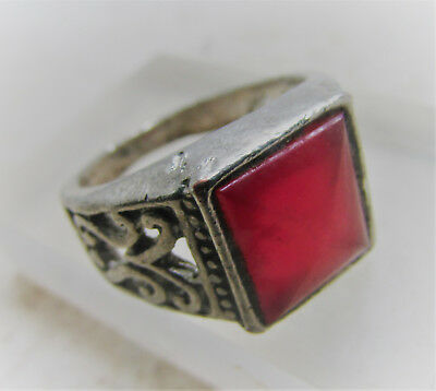 Nice Antique Post Medieval Silvered Ring With Red Stone Antiquities