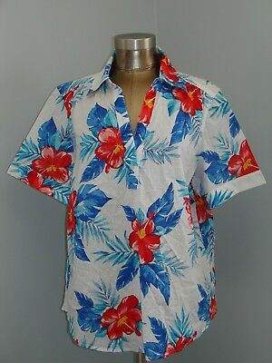Cathy Daniels Womens 1X (50) White/Red/Blue Floral Short Sleeve Top 232-13997