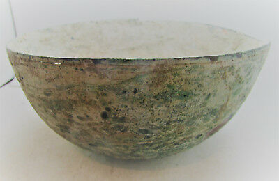 Authentic Ancient Byzantine Bronze Bowl Far East Origin Holy Land Crusaders