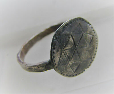 Late Byzantine Era Silver Crusaders Ring With Star Design On Bezel