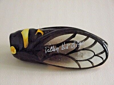 French Vintage CICADA Fly Wall Pocket Vase Brown and Yellow Name of Town 566