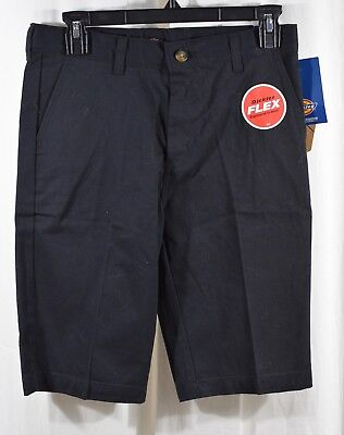 Dickies Boys Flex Slim Fit Ultimate Khaki Shorts Black Size 16