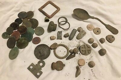 Metal Detecting Finds. Coins Musket/mini Balls, other Bits