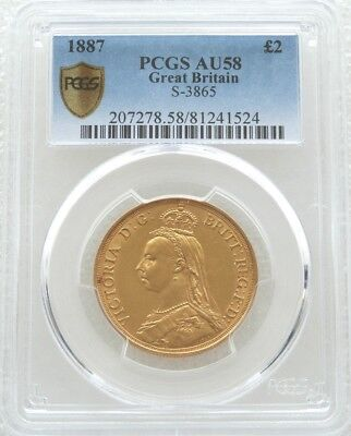 1887 British Victoria Jubilee Head £2 Pound Double Sovereign Gold Coin PCGS AU58