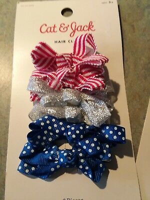 Lot Of 3 Packs-18pcs Cat & Jack Girls Hair Clips red white blue silver Bows lot