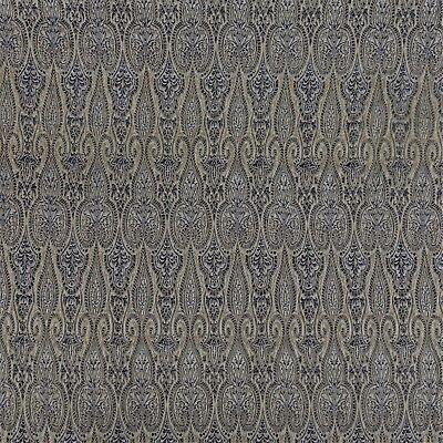 2 Yards Pure Silk Brocade Weaving Navy Blue Metallic Gold Fabric GORGEOUS