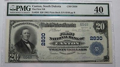 $20 1902 Canton South Dakota SD National Currency Bank Note Bill #2830 XF40! PMG