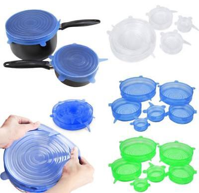 6PCS Universal Silicone Lids Stretch Suction Cover Cooking Pot Pan Spill Lid Sto