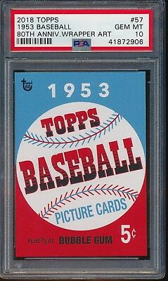 2018 Topps 80th Anniversary Wrapper Art 1953 Baseball PSA 10 Gem #57 Living Set