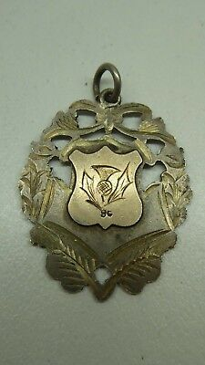 ANTIQUE STERLING SILVER 9 CT GOLD HALLMARK CALEDONIAN SOC. SYDNEY THISTLE w35