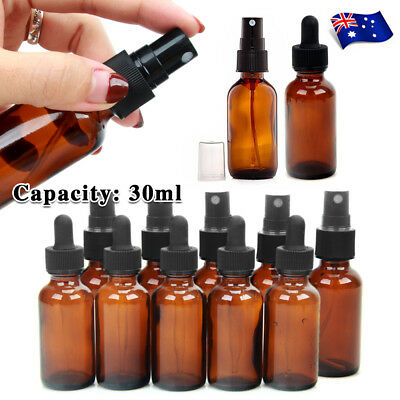 30ml Amber Glass Essential Oil Spray Roller Bottles Mist Sprayer Containers AU