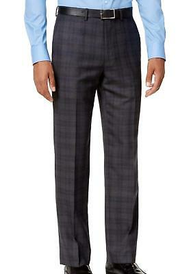Ryan Seacrest NEW Gray Blue Mens 30x32 Plaid Flat-Front Dress Pants $175 012