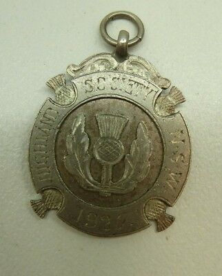 Sterling Silver Fob Medal Highland Soc. Nsw Fling Thistle Jeweller W.kerr Sydney