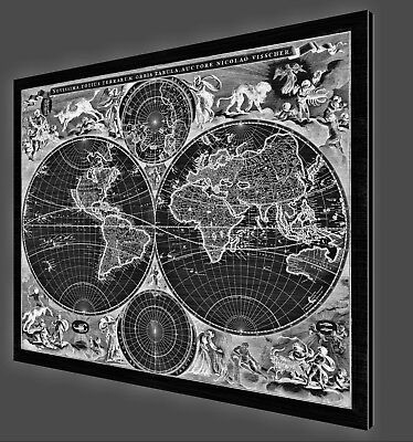 "Antique World Map - 1690 - Metal Print on Brushed Aluminum - 40"" x 33"""