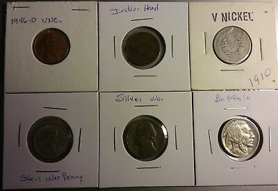 Lot Of 6 Coins Type Set Of Nickels And Pennies From 1900's To 1950's