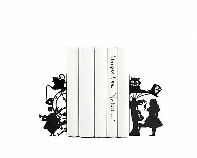 Atelier Article - Gift Steel bookends - Alice in Wonderland (Black)