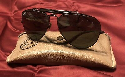 5aad1f1dbc Vintage B L Ray Ban Aviator Sunglasses Black Frame And Lenses With Case