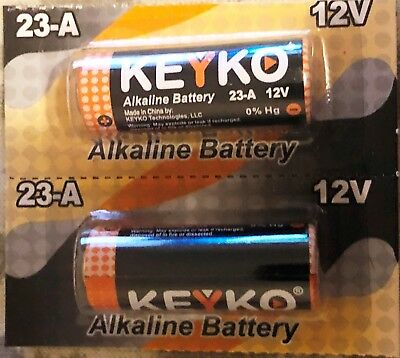 NEW 2-PACK KEYKO 12V Alkaline A23 A-23 23A 23-A FREE SHIPPING! TWO FOR $1.55 !!!