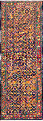"""Hand-knotted Persian Carpet 3'7"""" x 10'1"""" Mahal Traditional Wool Rug"""