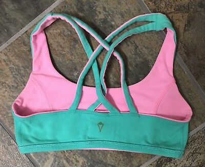 6ad33558f9621 Ivivva Reversible Vitality Cross Strap Sports Bra Girls Size 12 Green Pink