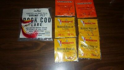 Vintage Lot Of 7 Nos Fishmaster & Jed Welsh Rock Cod Lure Herring Hooks